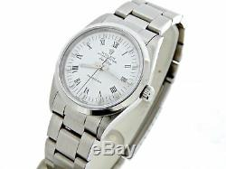 Rolex Air King Mens Stainless Steel Watch Oyster White & Black Roman Dial 14000