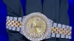 Rolex Date just 2 Tone 36mm Steel & Gold Watch 11 Carat Diamond Iced Out Watch