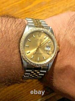 Rolex Datejust Mens 2Tone 18K Gold & Stainless Steel Jubilee Champagne 16233