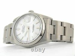 Rolex Datejust Mens Stainless Steel Watch Sapphire Oyster Band White Dial 16200