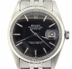 Rolex Datejust Mens Stainless Steel Watch with Black Dial & 18K White Gold Bezel