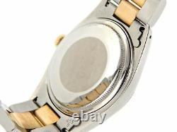 Rolex Datejust Mens Stainless Steel Yellow Gold Watch Black Diamond Dial 16013