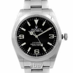 Rolex Explorer 39mm Stainless Steel Black Dial Automatic Mens Watch 214270