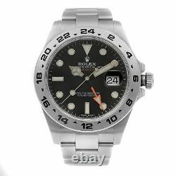 Rolex Explorer II GMT Stainless Steel Black Dial Automatic Mens Watch 216570BKSO