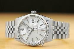 Rolex Mens Datejust 16014 Silver Dial 18k White Gold & Stainless Steel Watch