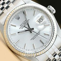 Rolex Mens Datejust 18k White Gold & Stainless Steel Silver Dial Watch
