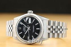 Rolex Mens Datejust Black Dial 18k White Gold & Stainless Steel Watch