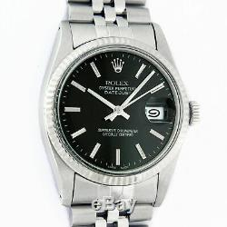 Rolex Mens Datejust Watch Oyster Perpetual S/Steel White Gold Black Index Dial