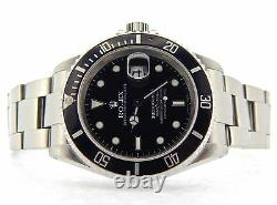 Rolex Submariner Date Mens Stainless Steel Sub Watch Black Dial Bezel SEL 16610