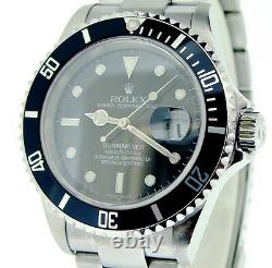 Rolex Submariner Date Stainless Steel Watch Black Bezel Dial SEL No Holes 16610T
