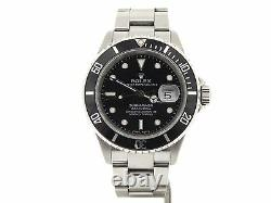 Rolex Submariner Date Stainless Steel Watch Black Dial Bezel No Holes SEL 16610T