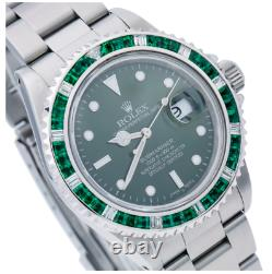 Rolex Submariner Date16800 40MM Black Dial With Diamond and Emerald Bezel Steel