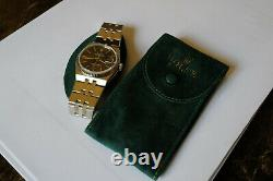 Rolex oysterquartz datejust 17014 black dial white gold and steel 1982