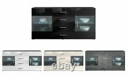 Sideboard Chest of Drawers Cabinet Bari Black High Gloss & Natural Tones