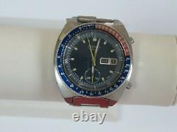 Vintage Seiko Automatic Pogue Pepsi Day Date Stainless Steel Men's Watch 6139