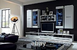 White Gloss TV Cabinet Unit Entertainment Stand Drawer 100 cm Black Accent Fever