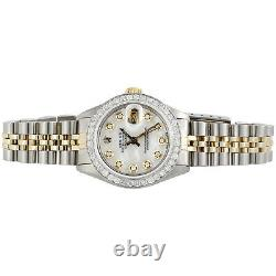 Womens Rolex Diamond Watch MOP Dial 6917 Datejust 18K/ Steel Jubilee Band 1 CT